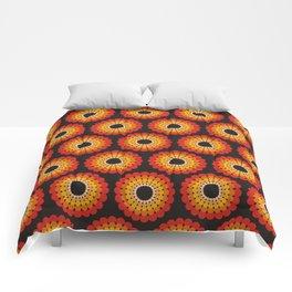 Orange red circled polka dots on black Comforters