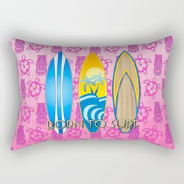 Born To Surf Pink Tikis Rectangular Pillow