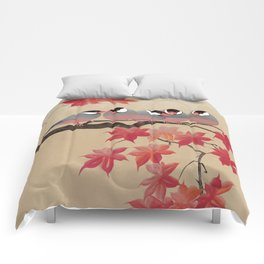 Java Sparrows in Japanese Maple Tree Comforters