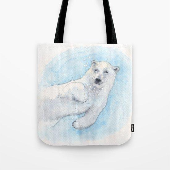 Polar bear underwater Tote Bag