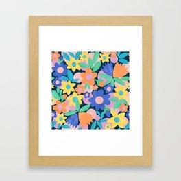 Spring Mod Flowers Pattern Framed Art Print