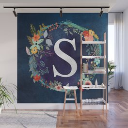 Personalized Monogram Initial Letter S Floral Wreath Artwork Wall Mural