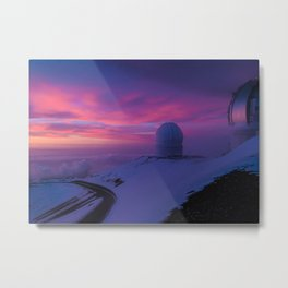 Astronomical Telescopes Sunset at Mauna Kea Summit, Big Island, Hawaii Metal Print