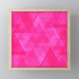 Bright pink triangles in intersection and overlay. Framed Mini Art Print