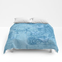 Ghostly alpaca with butterflies in snorkel blue Comforters