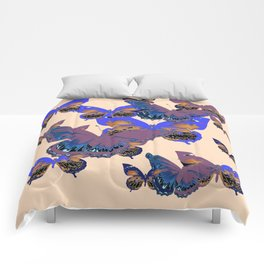 BLUE-PUCE PURPLE  BUTTERFLIES  CREAM COLOR ART Comforters