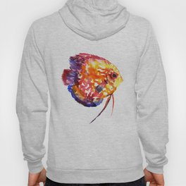 Rainbow Colored Yellow Red Orange Blue Discus, cute fish Hoody