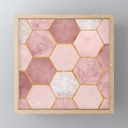 Pink and Gold Hexagon Print Framed Mini Art Print