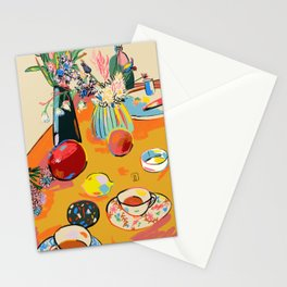 TEA AND FLOWERS AT HOME Stationery Cards