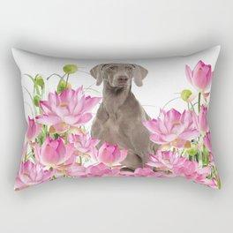 Weimaraner Lotos Flowers Rectangular Pillow
