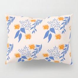 Floral Pattern Indigo Orange Blue Pillow Sham