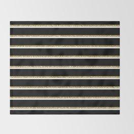 Black Gold White Stripe Pattern 2 Throw Blanket