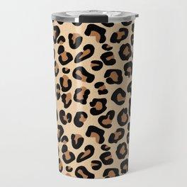 Leopard Print, Black, Brown, Rust and Tan Travel Mug