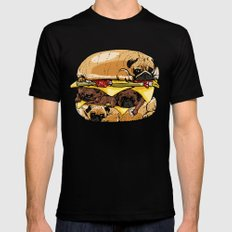 Pugs Burger Mens Fitted Tee Black LARGE