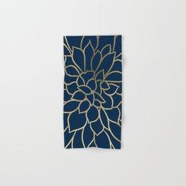 Floral Prints, Line Art, Navy Blue and Gold, Artist Prints Hand & Bath Towel