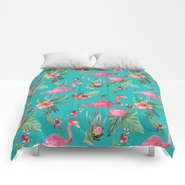 Santa Flamingo Christmas, Holiday Tropical Watercolor Comforters