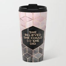 She Believed She Could - Grey Pink Metal Travel Mug