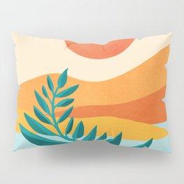 Mountain Sunset / Abstract Landscape Illustration Pillow Sham