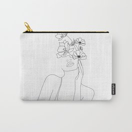 Minimal Line Art Woman with Flowers Carry-All Pouch