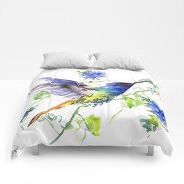 Hummingbird and Deep Blue Flowers, flying bird flowers design birds and flowers Comforters