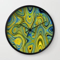 Liquid Yellow And Blue Wall Clock