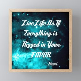 Rigged in Your Favor Rumi Quote Teal Galaxy Framed Mini Art Print