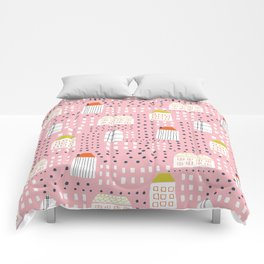Abstract pink black hand painted geometrical pattern Comforters