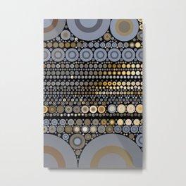 WRANGLE - indigo denim blue black tan cream circle abstract design Metal Print