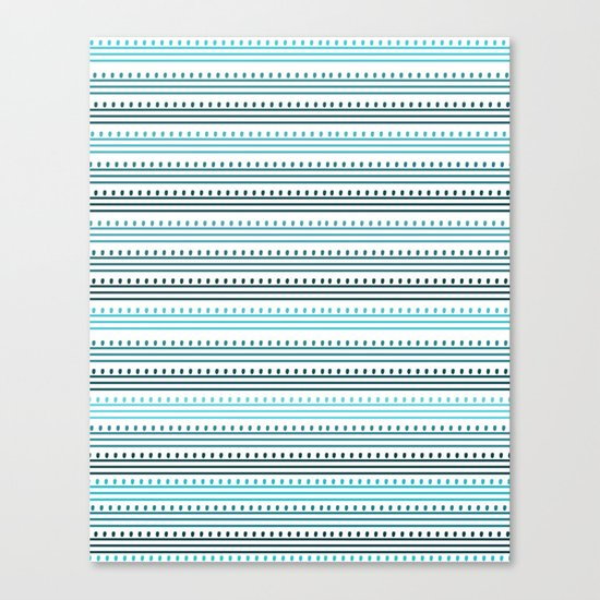 Aqua Lines and Dots Canvas Print