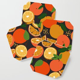 Oranges on black Coaster