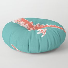 Dino Pop Art - T-Rex - Teal & Dark Orange Floor Pillow