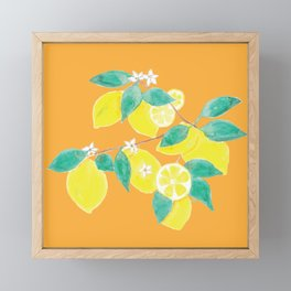 Lemon Pattern on Orange Framed Mini Art Print