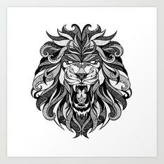 Angry Lion - Drawing Art Print