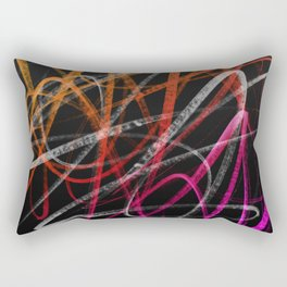 Expressive Red Orange and Magenta Lines Abstract - Handstyles Rectangular Pillow