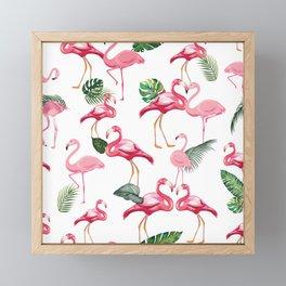 Flamingos Love Pattern Framed Mini Art Print