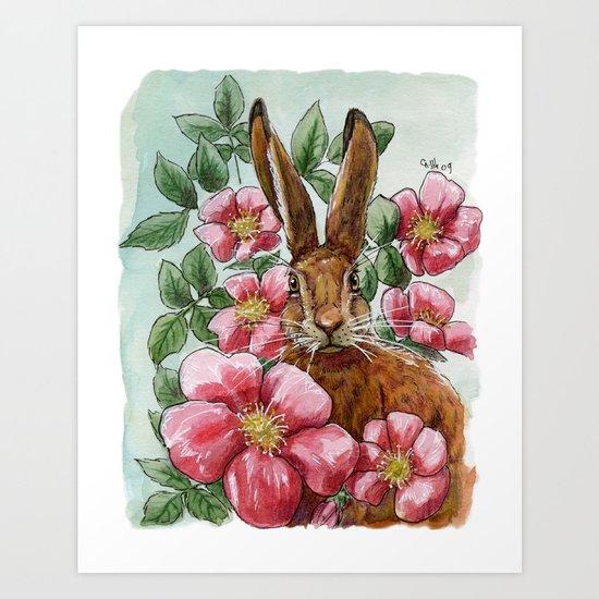 Funny Rabbits - Eglantine A070 Art Print
