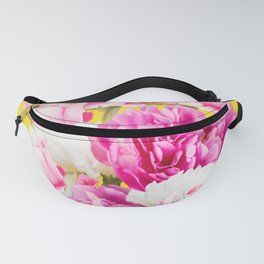 Beauties of nature - large pink flowers on a yellow background Fanny Pack