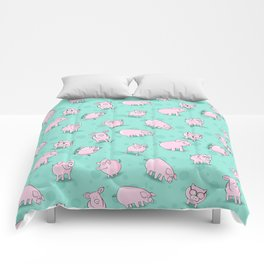 Little Piggies, patterns of pigs, l just love pigs! Comforters