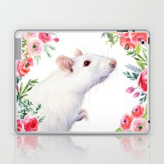 White Rat with Flowers Watercolor Floral Pattern Animal Laptop & iPad Skin