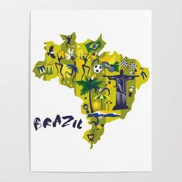 Abstract Brazil Soccer Mural Poster