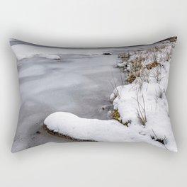 Snowfall at Ogwen Lake Snowdonia Rectangular Pillow