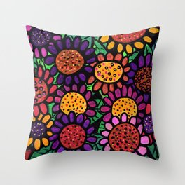 Playful Posies - Vase of Whimsical Flowers Throw Pillow