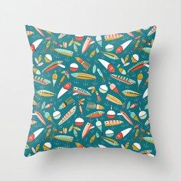 Fishing Lures Blue Throw Pillow