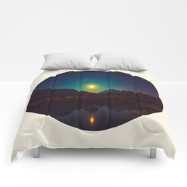 Colorful Night Sky Blue Green Purple With Mountains Comforters