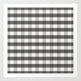 Grey and Pottery White Plaid Gingham Farmhouse Country Canvas digital texture Art Print