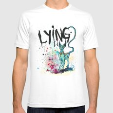 Lying Cat Mens Fitted Tee White LARGE