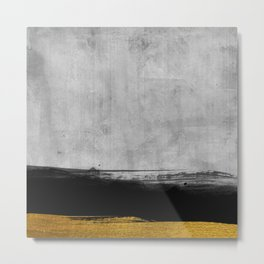 Black and Gold grunge stripes on modern grey concrete abstract backround I - Stripe - Striped Metal Print