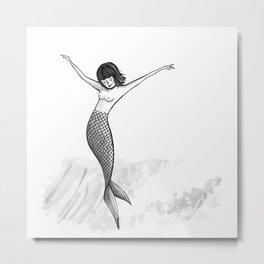 Cross Step Mermaid Metal Print