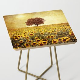 lone tree & sunflowers field Side Table