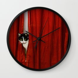 Peek-A-Boo Tuxedo Kitty Wall Clock